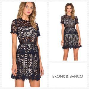 BRONX and BANCO Navy Lace Positano Dress